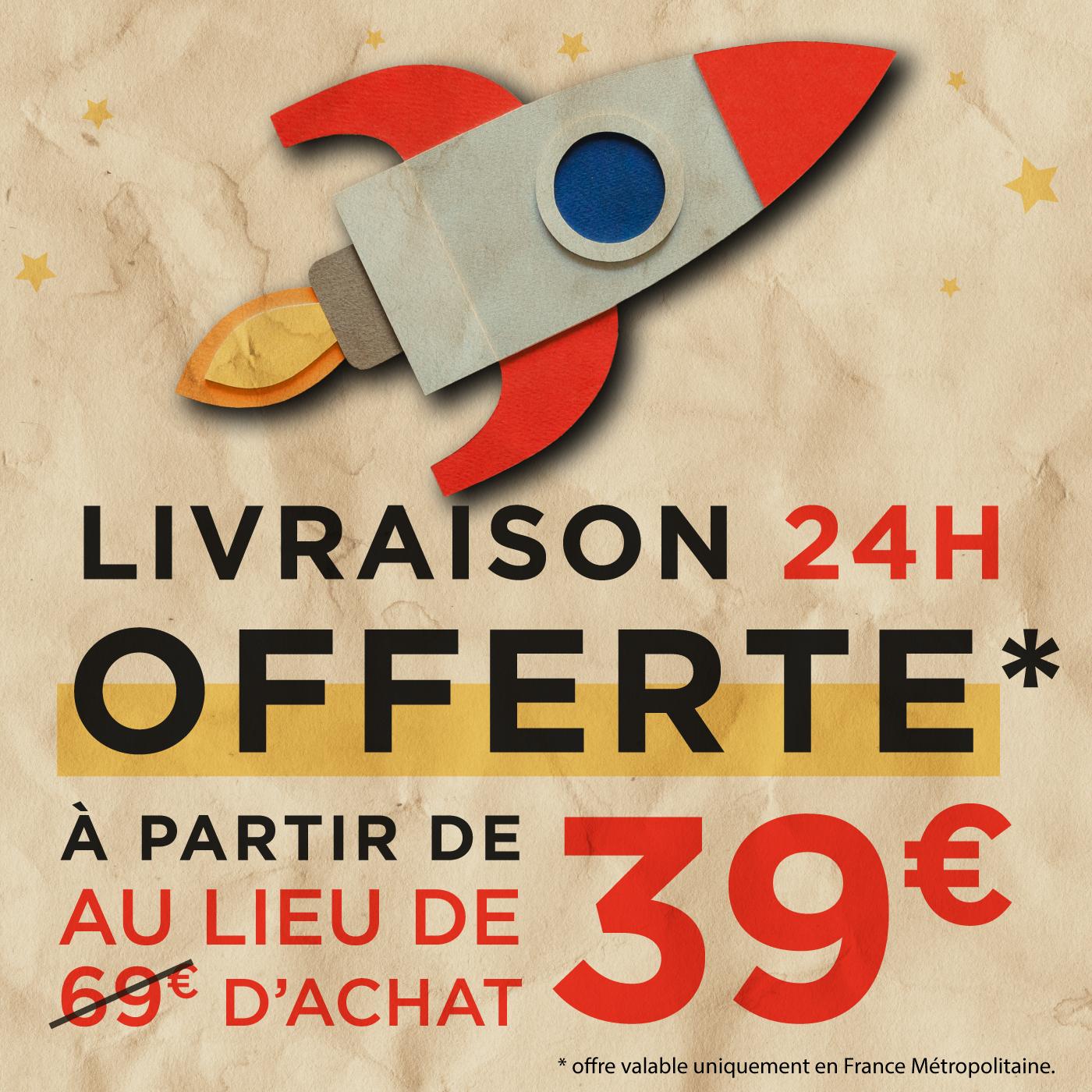 Livraison gratuite en 24h avec Chronopost dès 39€ d'achat